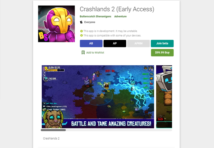 Crashlands 2 just popped up on the Play Store in early access, but it looks like it's only for internal testing