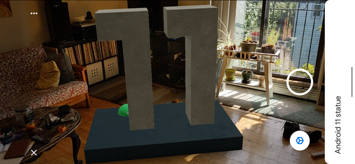 Boring-up your living room with Google's Android 11 statue, now in AR