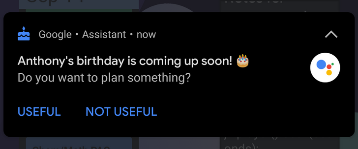 No excuses: Google Assistant birthday reminder notifications are showing up for some