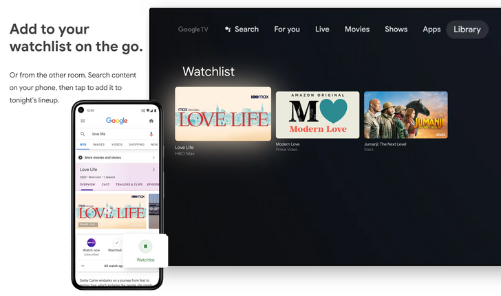 The Google TV watchlist is integrated with Google Search and your Play Store wishlist