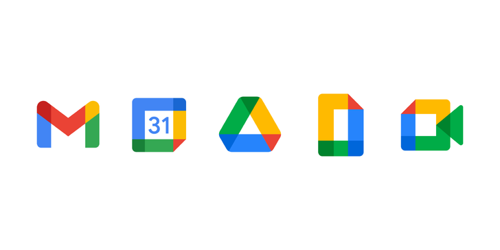 Google's new icons for Gmail, Calendar, Drive, Docs, and Meet all look the same
