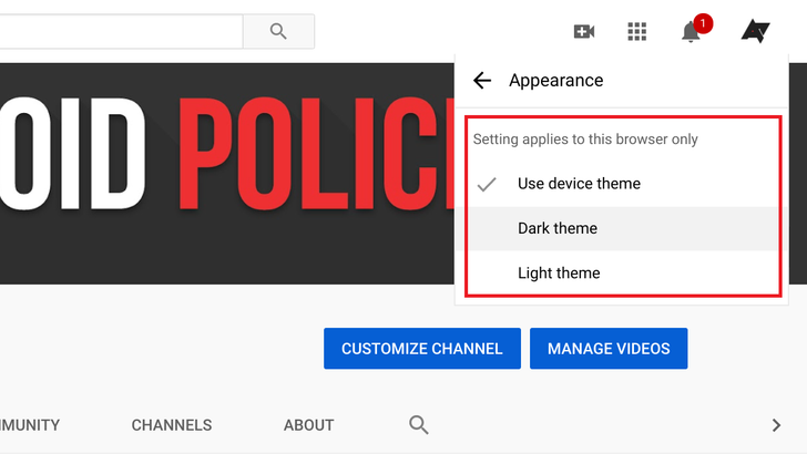 YouTube web's dark mode can now match your browser's theme