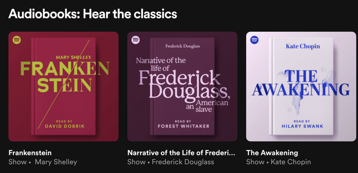 Spotify is kicking its new audiobook section off with nine classics