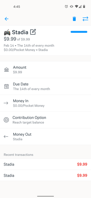 Simple Android expense detail