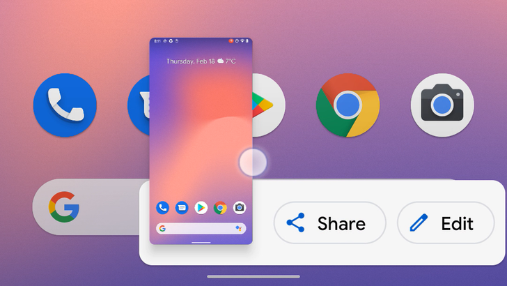 Android 12 DP3 lets you swipe away screenshots either left or right