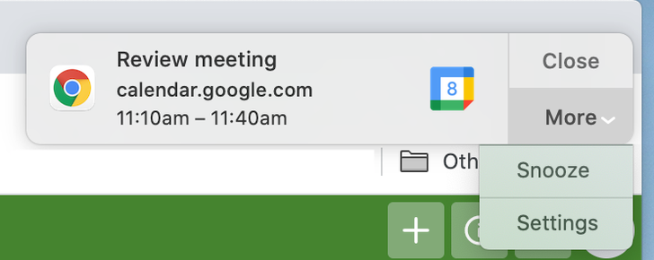 Google Calendar finally supports snoozing desktop notifications