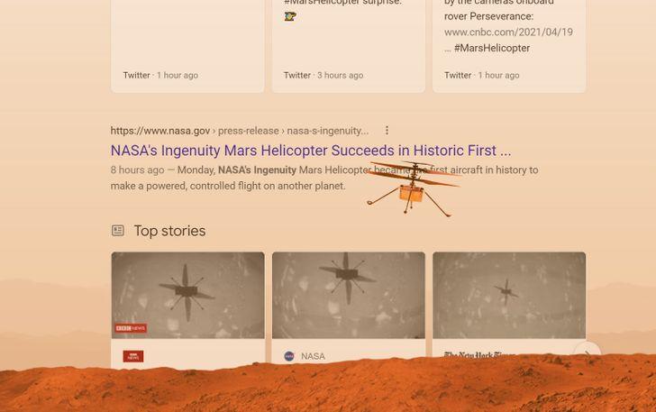 Google's newest Easter egg lets your browser take Martian flight