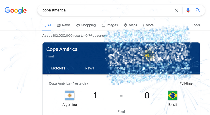 Google brings out the fireworks to mark the end of Euro 2020 and the Copa America