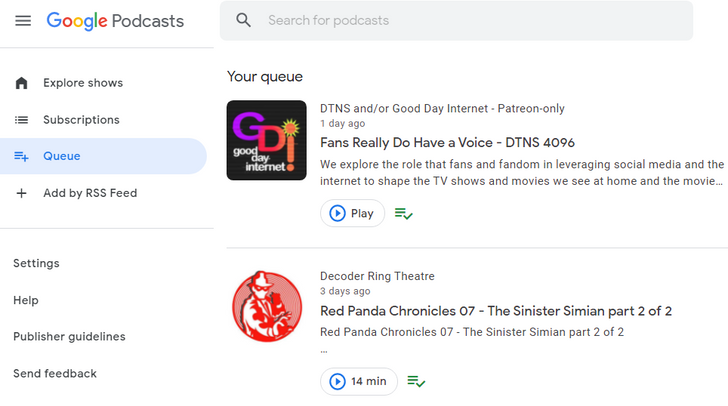 Google Podcasts on the web is picking up a welcome feature from the Android app