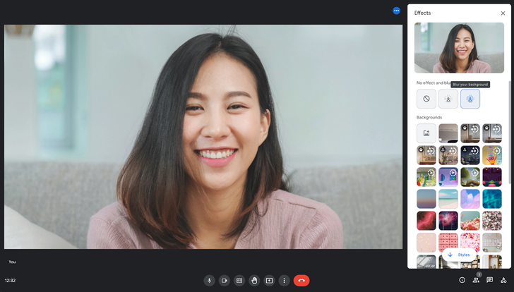 Google Meet adds a quick settings panel for all of your favorite background effects